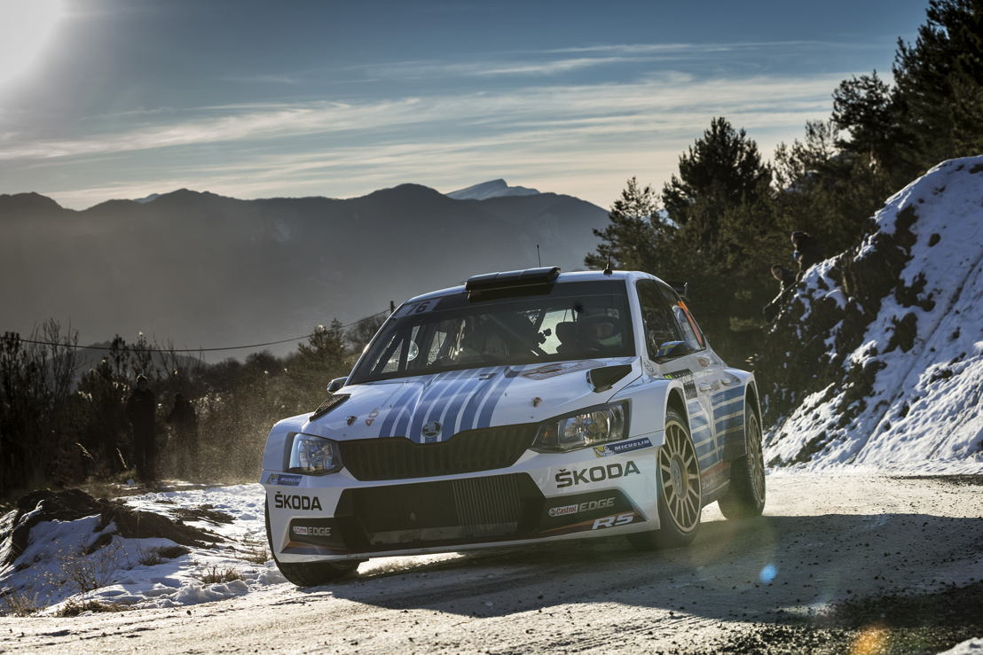 """The second ŠKODA works driver Pontus Tidemand displayed potential at his first """"Monte"""" and will be on the attack again on home soil with co-driver Jonas Andersson at the next WRC 2 rally in Sweden."""