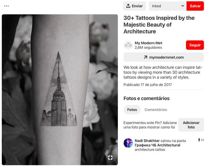 Pinterest | Mostre seu amor pela arquitetura com estas 10 ideias de tatuagem