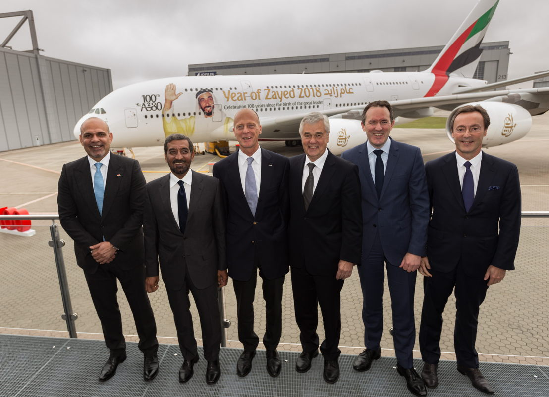 From left to right: HE Ali Al Ahmed, UAE Ambassador to Germany,  HH Sheikh Ahmed bin Saeed Al Maktoum, Chairman and Chief Executive Officer, Emirates Airline & Group, Tom Enders, Chief Executive Officer of Airbus , Senator Frank Horch, Ministry for Economy, Transport, and Innovation of the Free and Hanseatic City of Hamburg , Fabrice Brégier, Chief Operating Officer of Airbus and President Commercial Aircraft  and Dominic Horwood, Director – Customer and Services Rolls-Royce in front the 100th A380 following the ceremony in Hamburg.