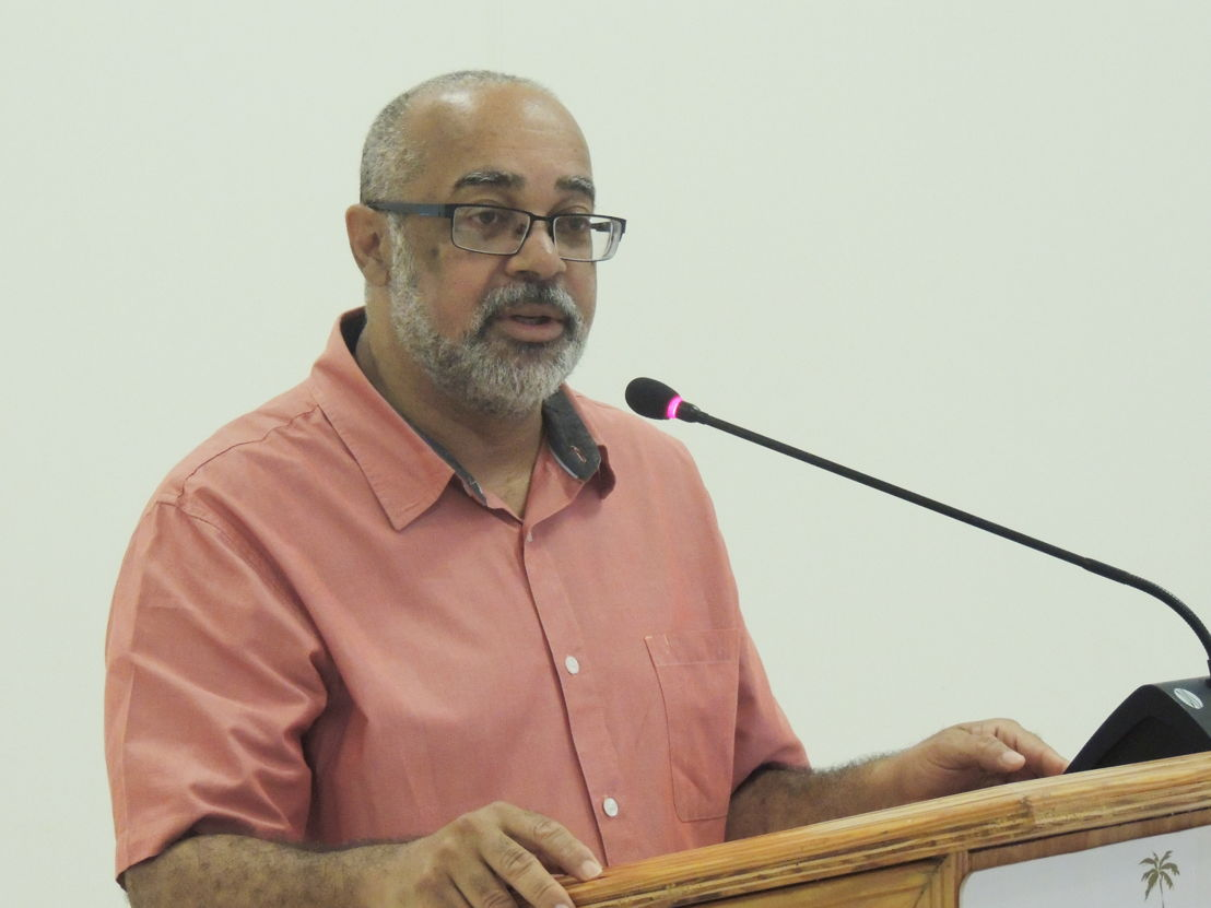 OECS Director General - Dr. Didacus Jules, addressing the Handing Over Ceremony