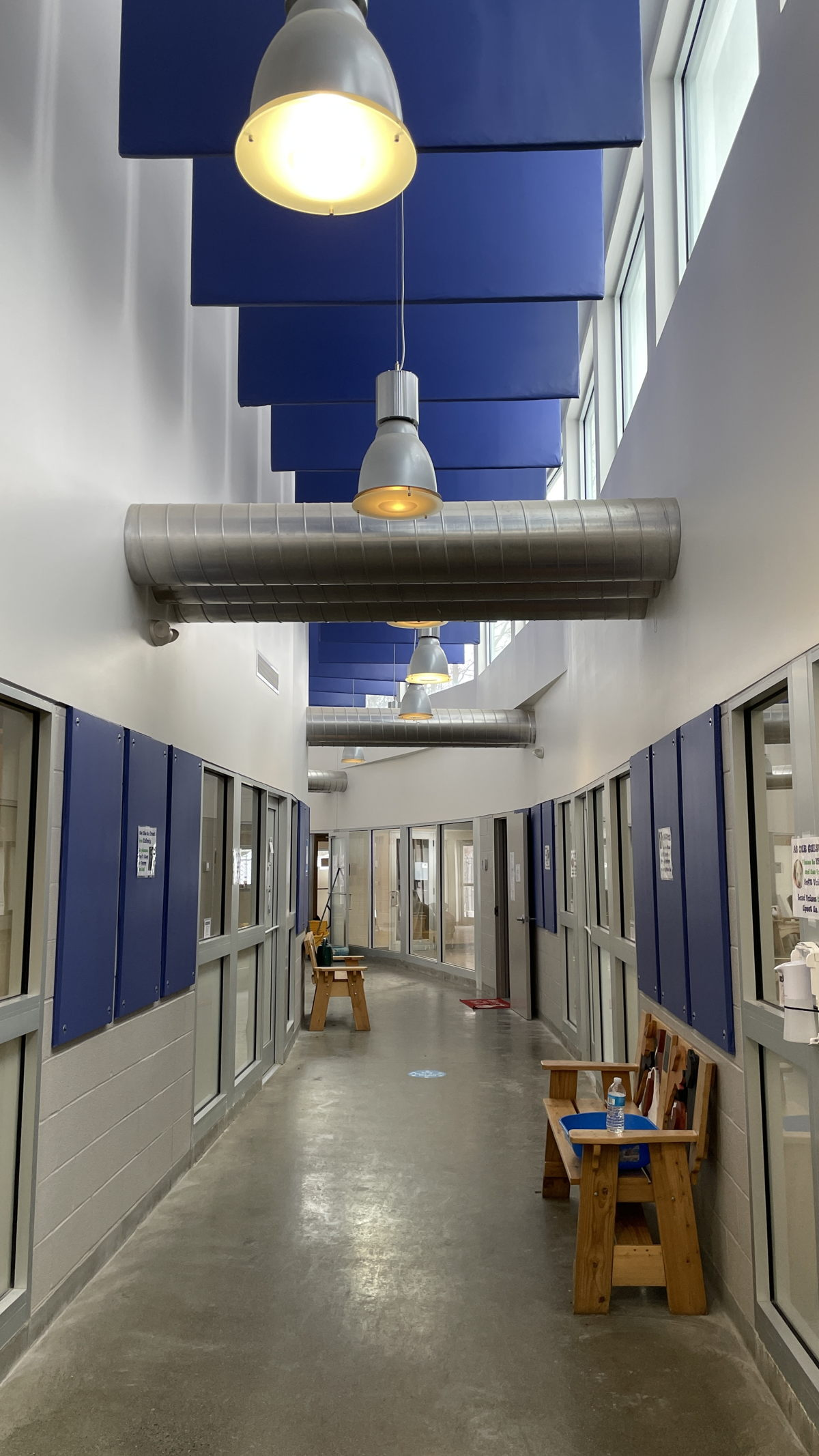 The WSDG team designed an elegant solution that utilized vinyl coated wall-treatments and hanging ceiling baffles to eliminate the unwanted echoes