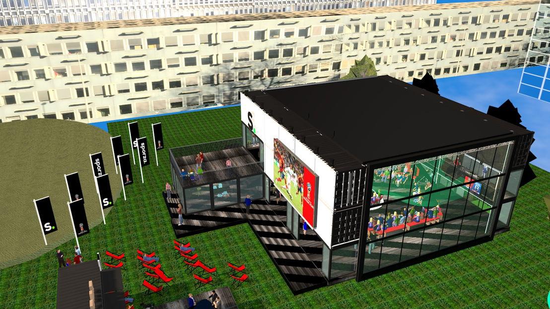 Impressie van het WK-dorp onder de VRT-toren