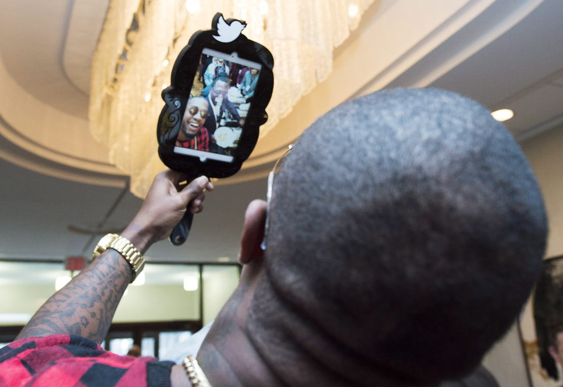 Players use the Twitter Mirror at the 2015 #GreyCup