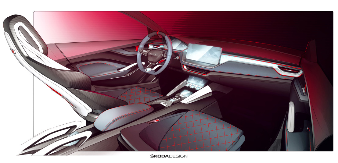 ŠKODA releases design video and interior sketches of VISION RS