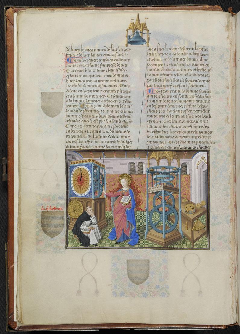 Wijsheid dicteert haar werk aan de schrijver Henricus Suso, toegeschreven aan de Meester van Jean Rolin, in Horologium Sapientiae, Henricus Suso, 1450-1460, Koninklijke Bibliotheek van België, Handschriftenkabinet, IV 111, fol. 13v.