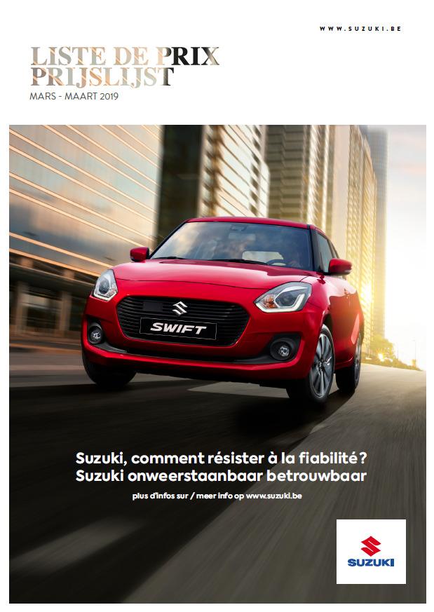 Liste de prix Suzuki Mars 2019