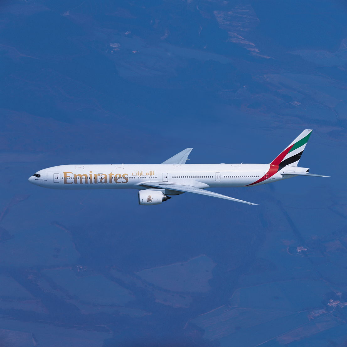 An Emirates Boeing 777-300 wide-body aircraft