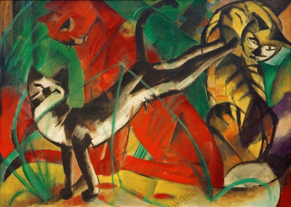"Marc, Franz, ""Three cats"", 1913.<br/>Oil on canvas, 72 × 102 cm.<br/>Dusseldorf, North Rhine-Westphalia Art Collection.<br/>AKG375729"