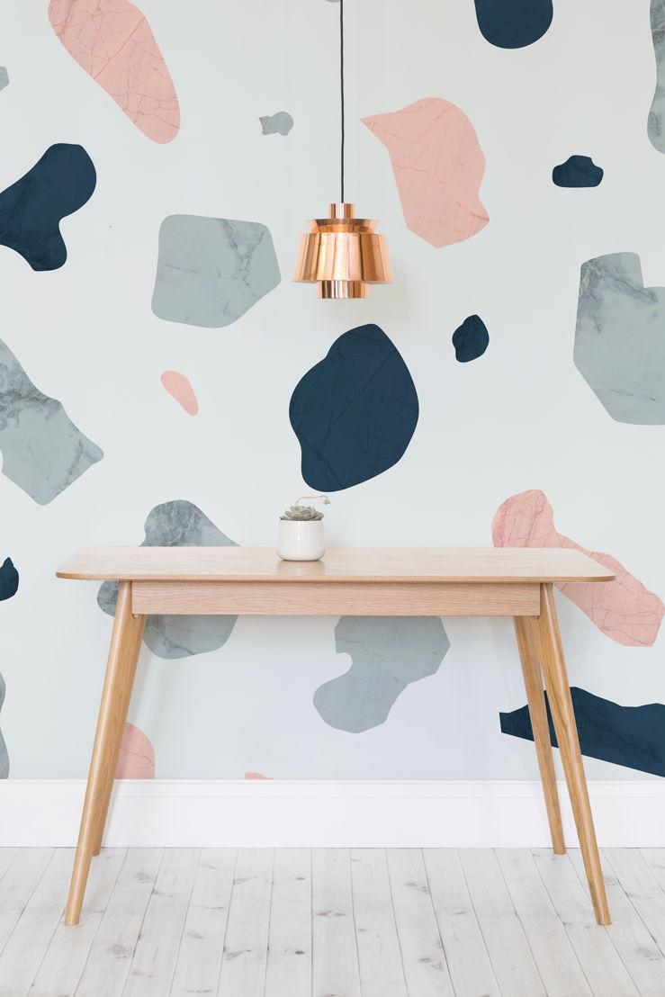 4. Terrazzo - Pink and Blue Terrazzo - https://www.muralswallpaper.co.uk/shop-murals/pink-and-blue-terrazzo-wall-mural/