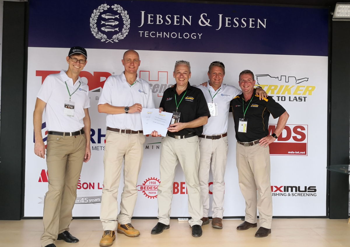 From left: Per Magnusson, Executive Vice Chairman of Jebsen & Jessen Group; Michael Nielsen, President Director of Jebsen & Jessen Technology in Indonesia; Craig Pedley, Director of Striker Crushing & Screening; Andy Blythe, Business Manager of Jebsen & Jessen Technology – Dry Bulk Handling Division; Neil McKenna, Business Development & Dealer Manager of Striker Crushing & Screening, at the Mining Indonesia 2019 at Jakarta International Expo, Kemayoran