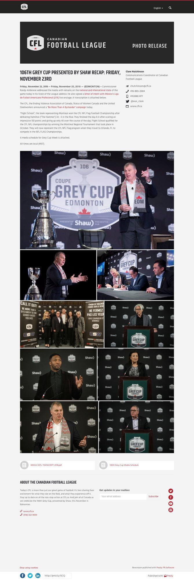 106TH GREY CUP PRESENTED BY SHAW RECAP: FRIDAY, NOVEMBER 23RD