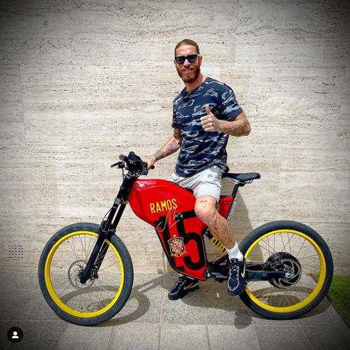 Sergio Ramos shows off his new toy.
