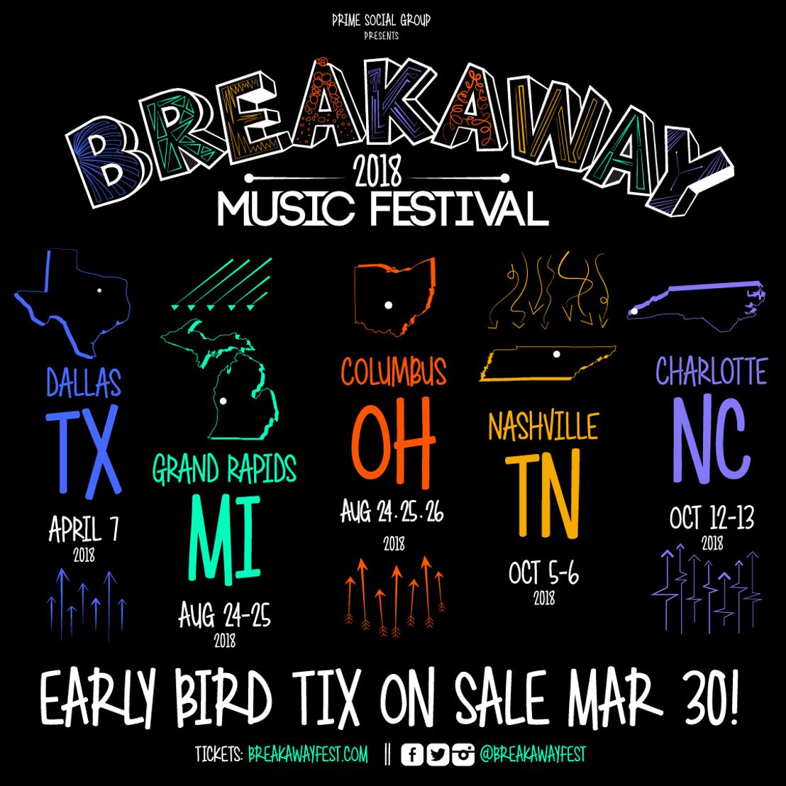 Prime Social Group Announces Complete 2018 Breakaway Music Festival Calendar, Including Nashville Expansion