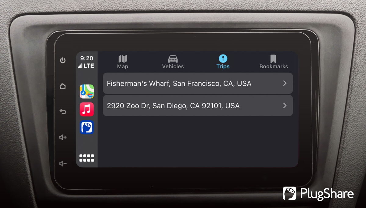 PlugShare users can view trips they saved on their iPhone, iPad, or web in Apple CarPlay