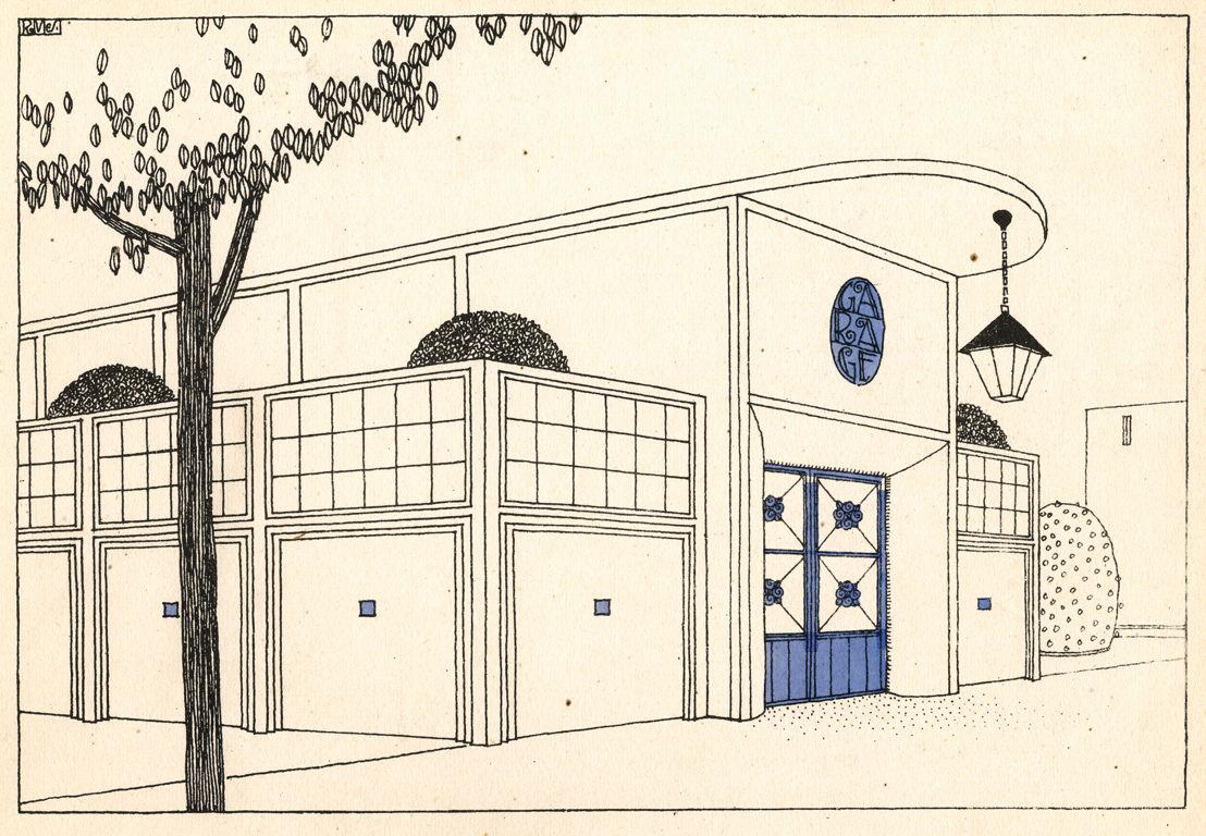 Garage, planche n°13 du portfolio Une Cité Moderne, Rob Mallet-Stevens 1924 / Garage, plaat nr. 13 uit de portfolio Une Cité Moderne van Rob Mallet-Stevens, 1924.