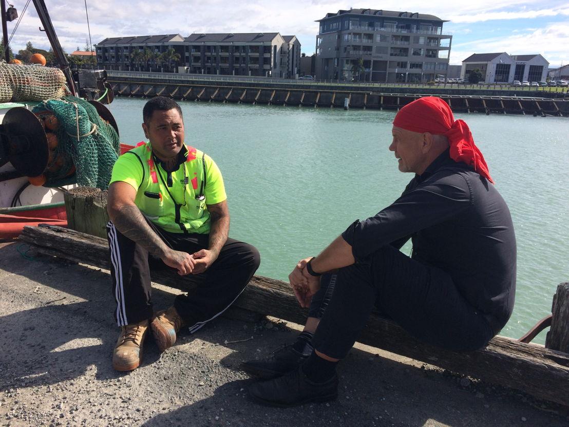 Peter FitzSimons in NZ with deportee Ko Haapu