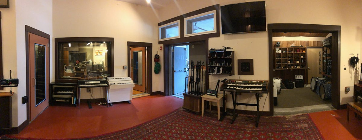 A Mad Oak Studios panorama with a view into the well stocked (far right) equipment room