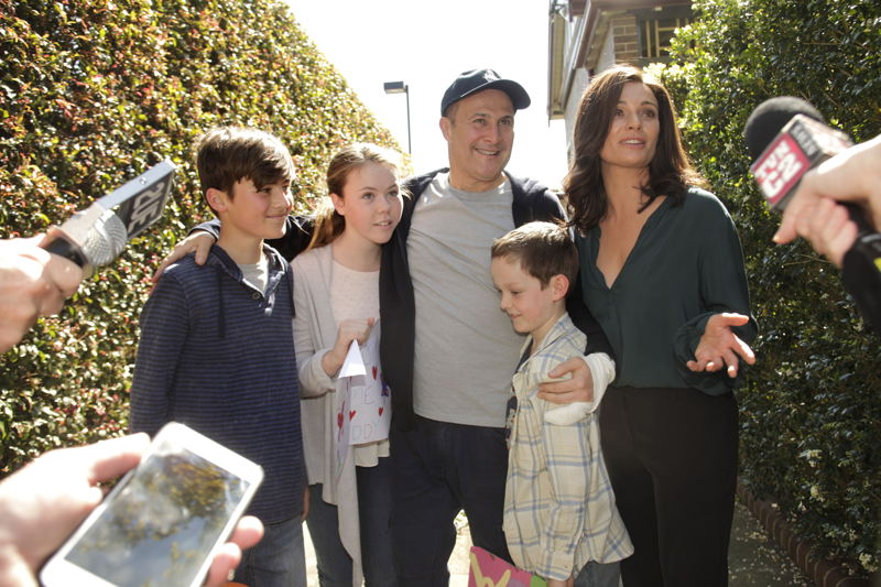 Russell Dykstra as Barney and Danielle Cormack as Scarlet with the children