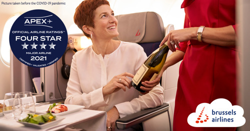 Brussels Airlines receives 2021 Four Star Rating by APEX