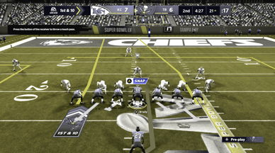 TheTampa Bay offense's routes in Madden NFL 21 with color blindness settings set to deuteranopia, simulated as seen by someone with red-green color blindness. The technology helps to distinguish between the different types of routes to make it easier for the player to choose the right play, enhancing the gaming experience.