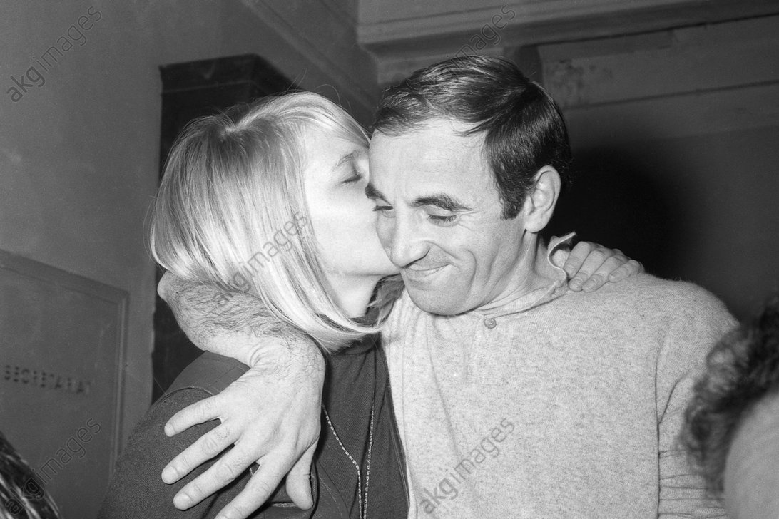 Charles Aznavour with his wife Ulla Thorsell. Photo, undated, around 1967/70.<br/>AKG2141981
