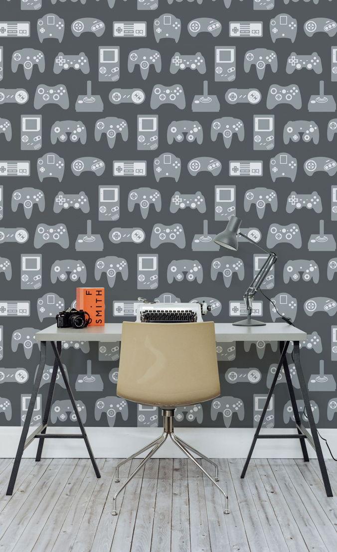 Grey Retro Game Wall Mural