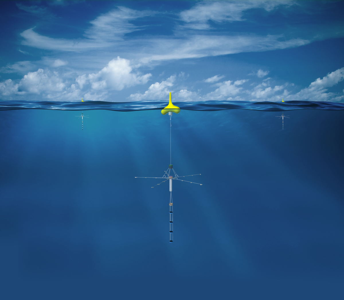Artist's impression of a SonoFlash sonobuoy at sea  © Thales
