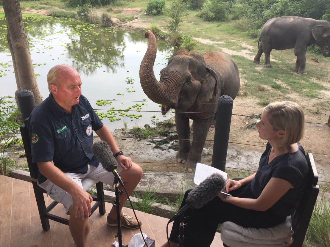 Edwin Wiek with reporter Samantha Hawley at one of his wildlife refuges in Thailand