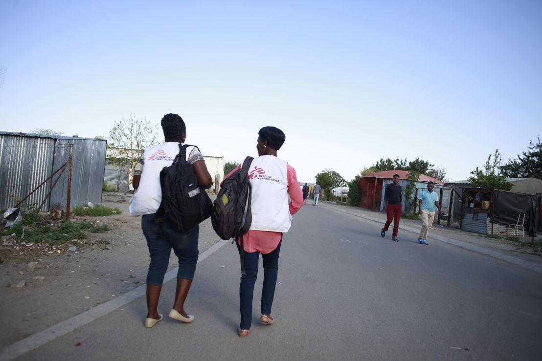 Community Health Workers Lydia Ganda (left) and Salome Seabelo conducting community awareness activities in Boitekong township in Rustenburg. Photographer: Siyathuthuka Media