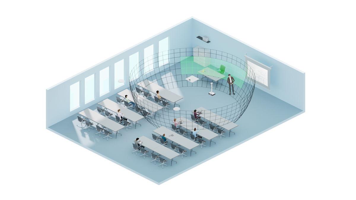 С помощью бесплатного программного обеспечения Sennheiser Control Cockpit можно настроить приоритетный зоны: когда кто-то в этой зоне говорит, он получает приоритет над всеми остальным разговаривающими в помещении (на изображении такая зона показана зеленым цветом)
