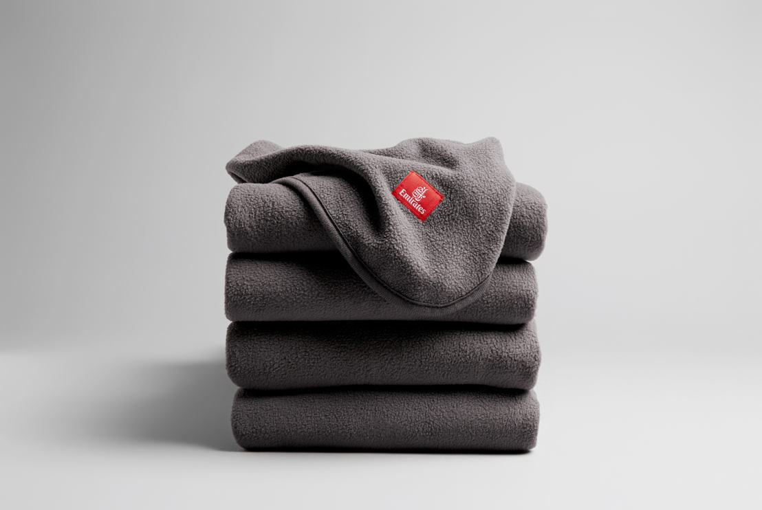 Each Emirates ecoTHREAD™ blanket is made from 28 recycled plastic bottles