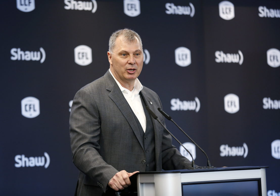 CFL Commissioner Randy Ambroise announces Calgary as the host for the 107th Grey Cup presented by Shaw. Photo Credit: Todd Korol