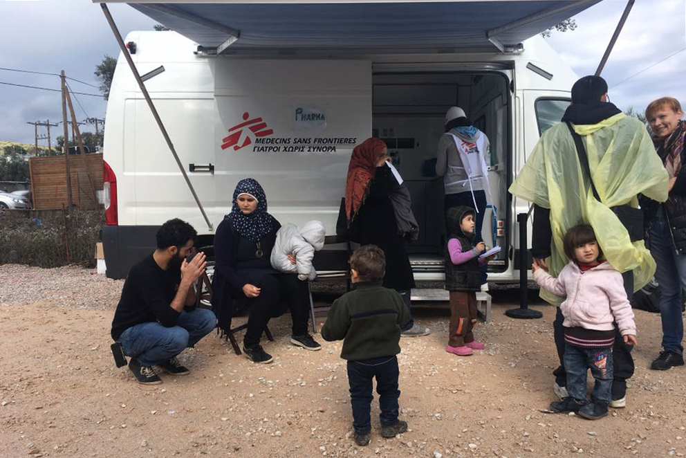 Patients at an MSF clinic on Lesbos, 5 December, 2017. Credit MSF