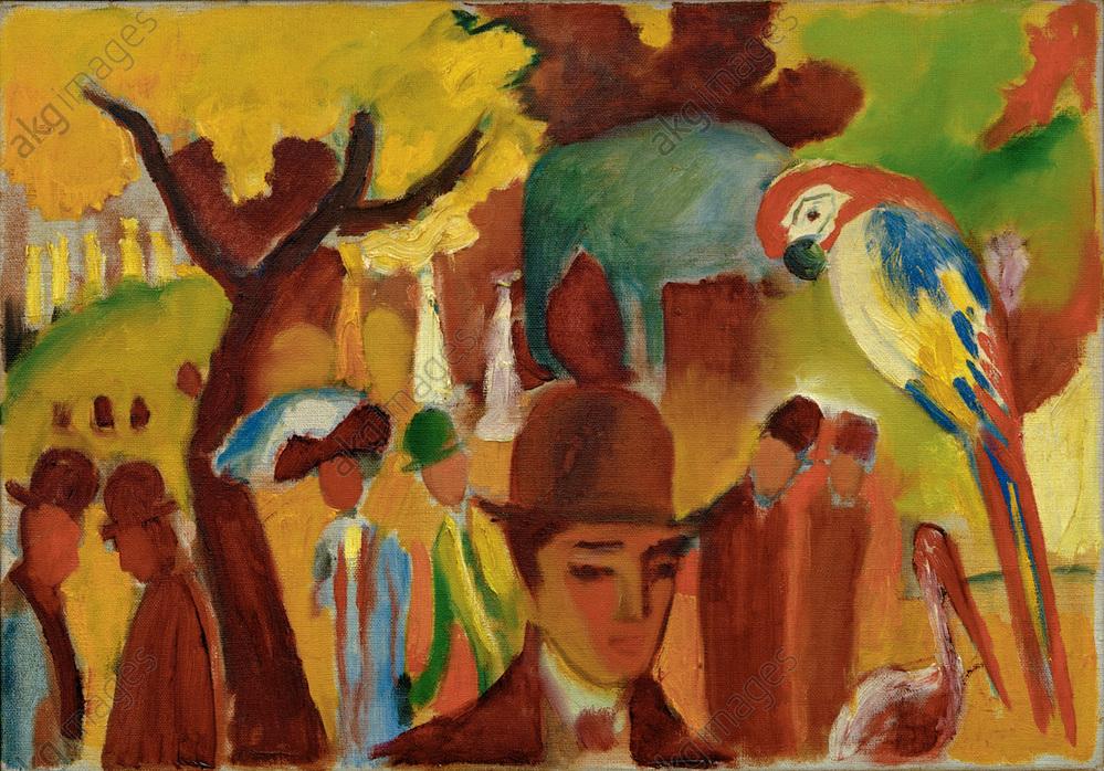 """August Macke, """"Kleiner Zoologischer Garten in Braun und Gelb"""" (small zoological garden in brown and yellow), 1912.<br/>Oil on canvas, 47 × 68 cm.<br/>Baden-Baden, Museum Frieder Burda.<br/>AKG310116"""