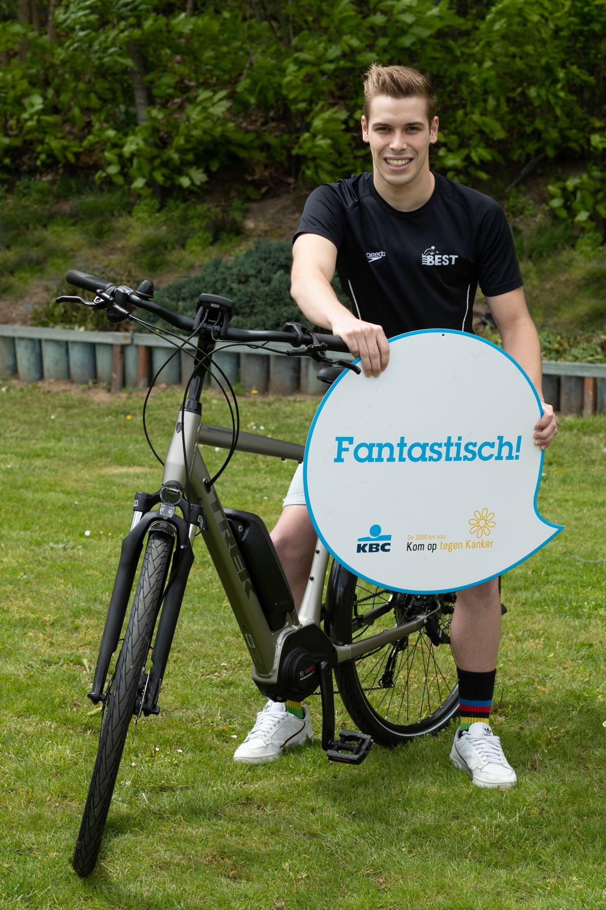 Bjarne Vranckx, winnaar van de Gelijk nen Echte-fietschallenge