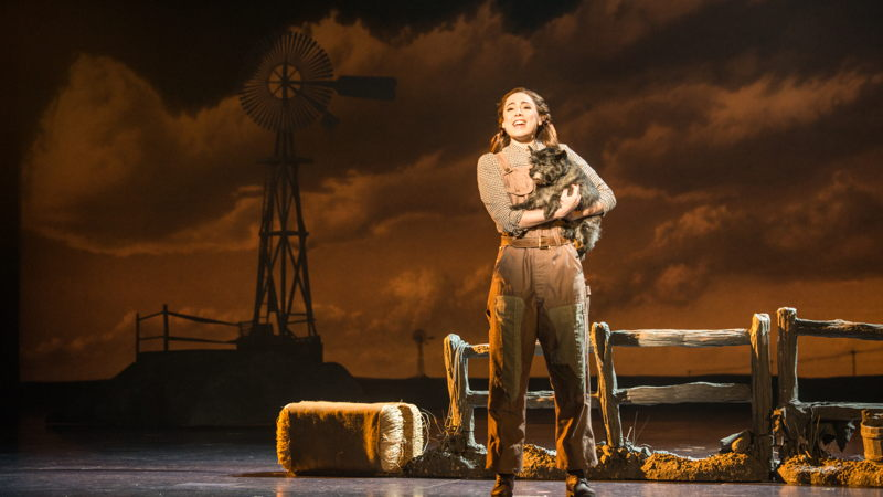 """Sarah Lasko as Dorothy and Nigel as Toto in """"Over The Rainbow""""<br/>Photo credit: DANIEL A. SWALEC"""