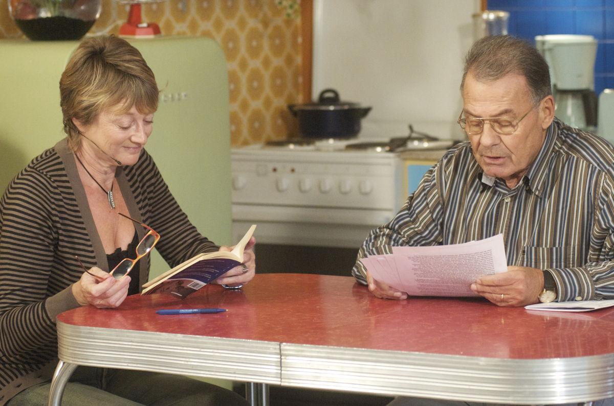 Martine Tanghe en Jan Wauters bij Klara naar aanleiding van 50 jaar Tom Lanoye in 2008 © VRT