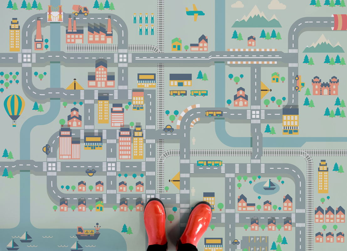 City Life | Cute Kids Town Map Flooring