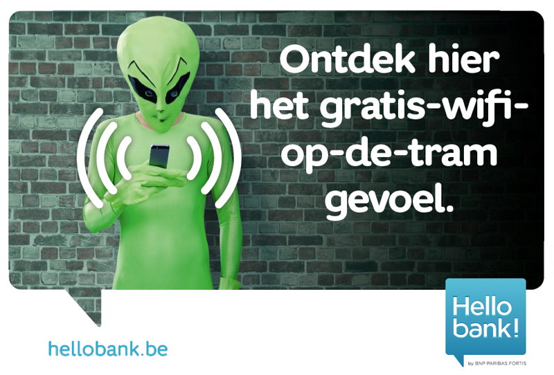 Wifi De Lijn: affiche buitenkant tram / ontdek hier het gratis-wifi-op-de-tram-gevoel