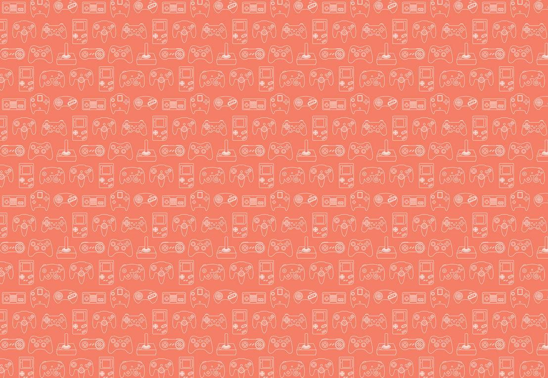 Orange Retro Game Wall Mural