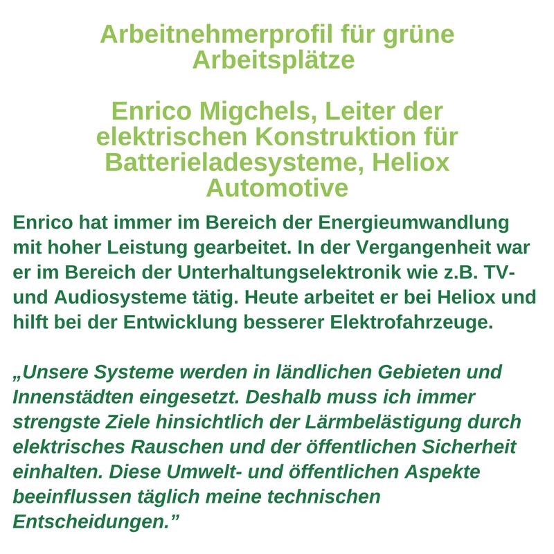 Arbeitnehmerprofil für grüne Arbeitsplätze - Enrico Migchels