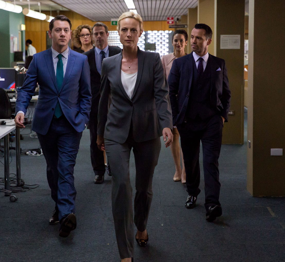 l-r Hamish Michael as Richard, Leah Purcell as Heather, Marta Dusseldorp as Janet King, Andrea Demetriades as Lina, Damian Walshe-Howling as Owen