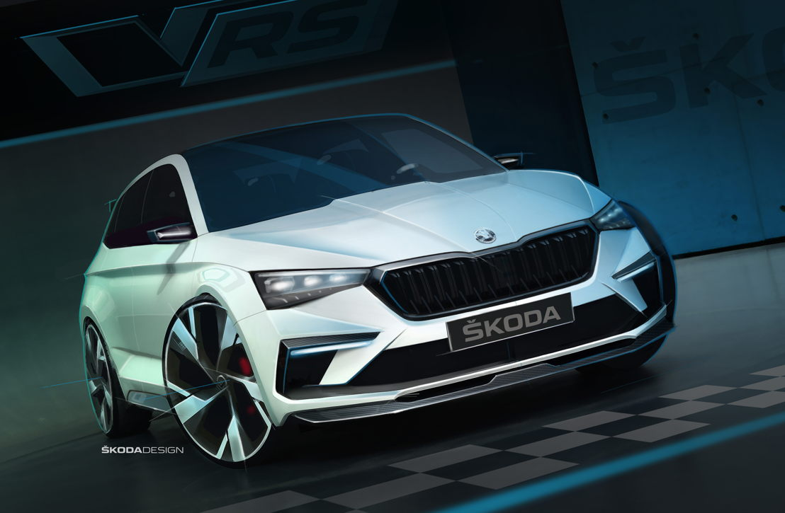 Xirallic crystal sparkle effect paint make the brilliant<br/>white finish of the ŠKODA VISION RS shimmer with a<br/>subtle blue effect. Organic components in the paint<br/>reflect heat, thereby reducing the interior temperature.