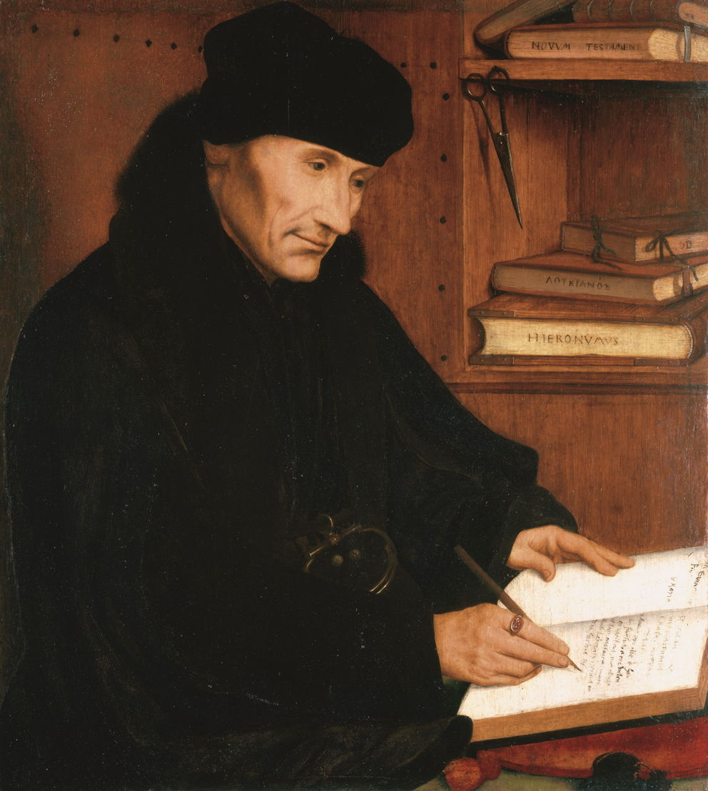 © Quentin Metsys, Portrait de Desiderius Erasmus, Anvers, 1517. Windsor Castle, Royal Collection. Prêt de Sa Majesté la Reine Elisabeth II.