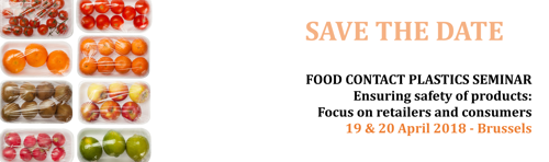 SAVE THE DATE: Food Contact Plastics Seminar 2018