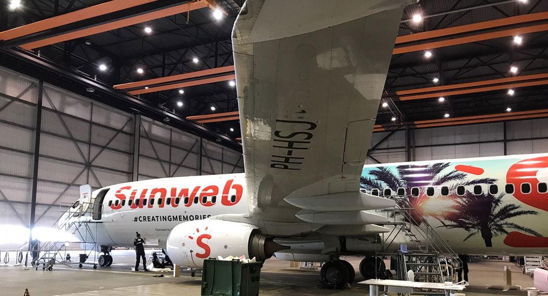 Het nieuwe ontwerp van het Sunweb vliegtuig van Transavia.