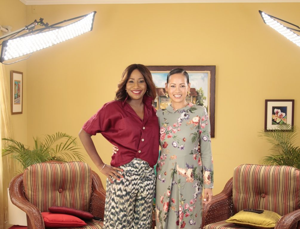 Carla Parris with Anya Ayoung Chee, one of the Caribbean's leading Fashion Designers, Entrepreneurs and activists.
