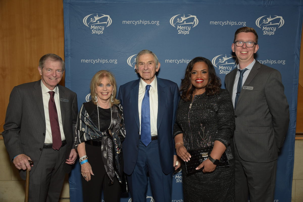 Left to right: Mike Ullman, chairman of Mercy Ships International; Dame Ann Gloag, Mercy Ships UK board member; Paul Wolfowitz, former president of the World Bank, Rosa Whitaker, Mercy Ships president; and Lea Milligan, Mercy Ships UK national director.