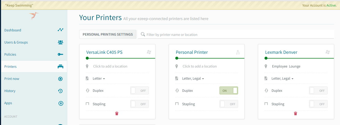 In ezeep Pull Printing can now be used with Personal Printing.