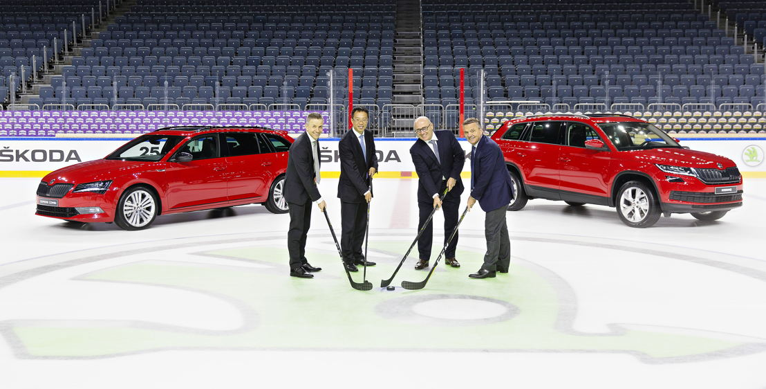 President and CEO of Infront Sports & Media Philippe Blatter, Chairman Wanda Sports Holding Lincoln Zhang, Chairman of the Board, Bernhard Maier and IIHF President Dr. René Fasel on Friday in the Lanxess Arena.